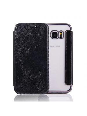 Etui à clapet en simili-cuir avec coque arrière/ bumper Black pour Samsung Galaxy S7 Edge