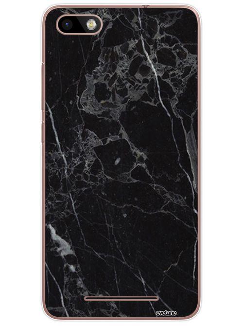 Coque Wiko Lenny 3 rigide transparente Marbre noir Dessin Evetane - Coquediscount