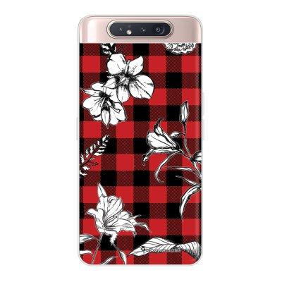 Coque Samsung Galaxy A80 360 intégrale transparente Tartan rouge et noir Ecriture Tendance Design La Coque Francaise.