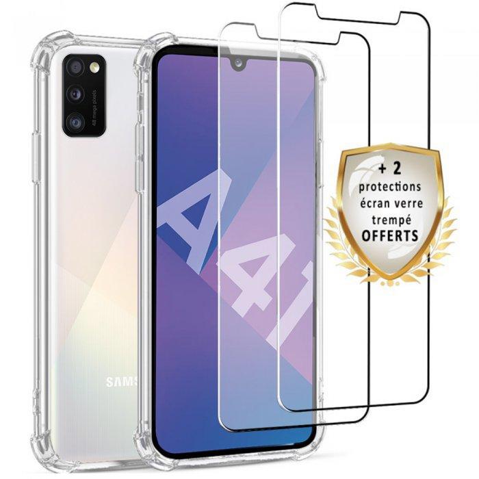Coque Samsung Galaxy A41 Antichoc Silicone + 2 Vitres en verre trempé