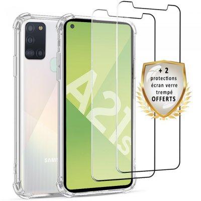Coque Samsung Galaxy A21s Antichoc Silicone + 2 Vitres en verre trempé