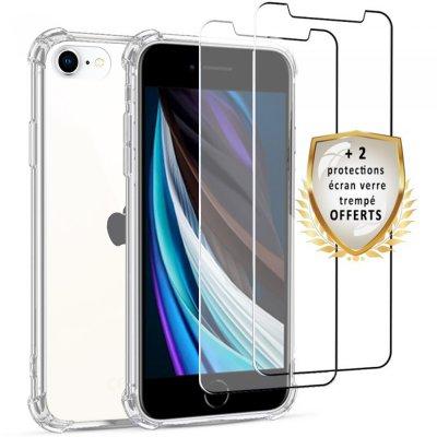 Coque iPhone 7/8  Antichoc Silicone + 2 verres trempés