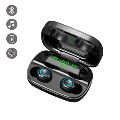 Ecouteurs bluetooth bouton tactile et affichage LED Noir