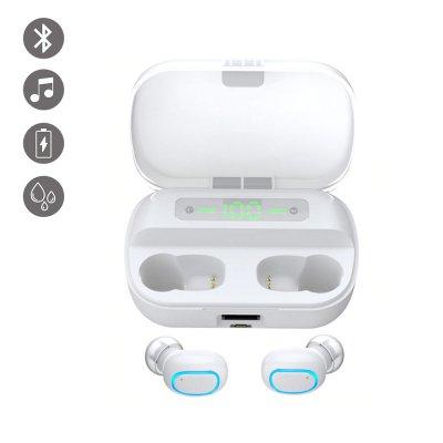 Ecouteurs bluetooth bouton tactile et affichage LED Blanc