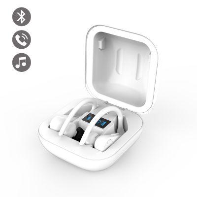 Ecouteurs sport étanche Bluetooth Blanc avec affichage LED