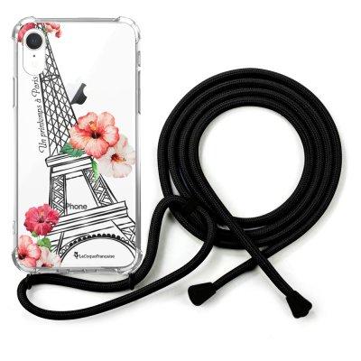 Coque cordon iPhone Xr cordon noir Dessin Un Printemps à Paris La Coque Francaise