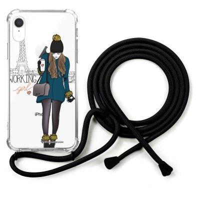 Coque cordon iPhone Xr cordon noir Dessin Working girl La Coque Francaise