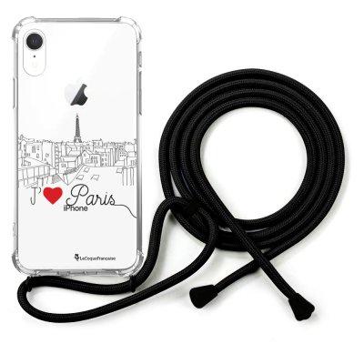 Coque cordon iPhone Xr cordon noir Dessin J'aime Paris La Coque Francaise