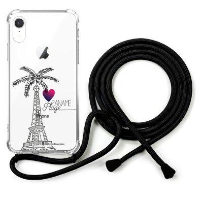 Coque cordon iPhone Xr cordon noir Dessin Paname plage La Coque Francaise