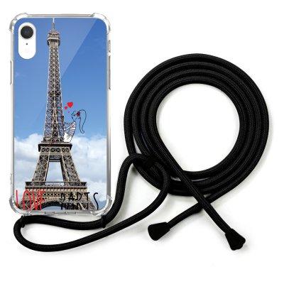 Coque cordon iPhone Xr cordon noir Dessin Love Paris La Coque Francaise
