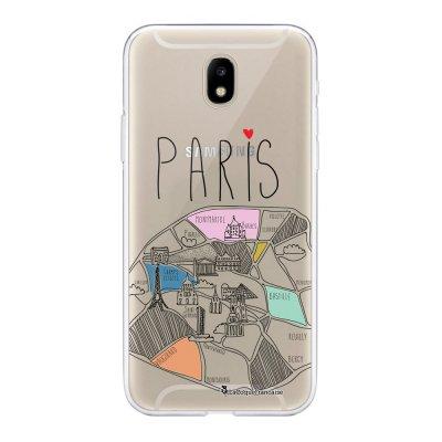 Coque Samsung Galaxy J5 2017 souple transparente Plan de Paris Motif Ecriture Tendance La Coque Francaise