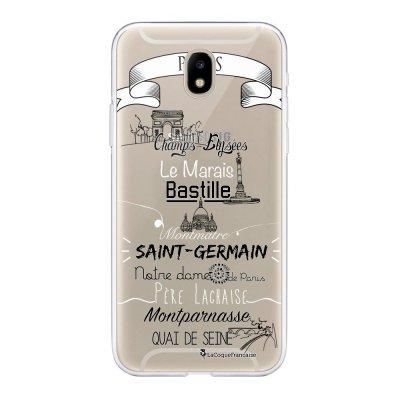 Coque Samsung Galaxy J5 2017 souple transparente Quartiers de Paris Motif Ecriture Tendance La Coque Francaise