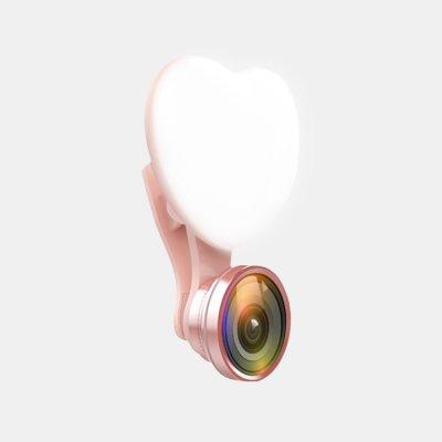 Fish eye selfie rose gold avec lampe en forme de Coeur