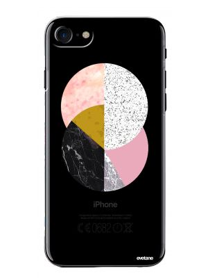 Coque rigide transparent Cercles Marbre pour iPhone 7