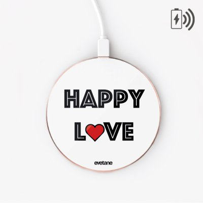 Chargeur Induction Happy Love Ecriture Tendance et Design Evetane