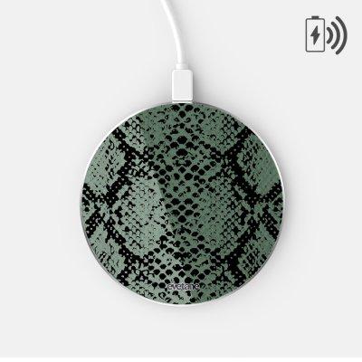 Chargeur Induction contour argent blanc Python vert Evetane