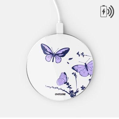 Chargeur Induction contour argent blanc Papillons Violets Evetane