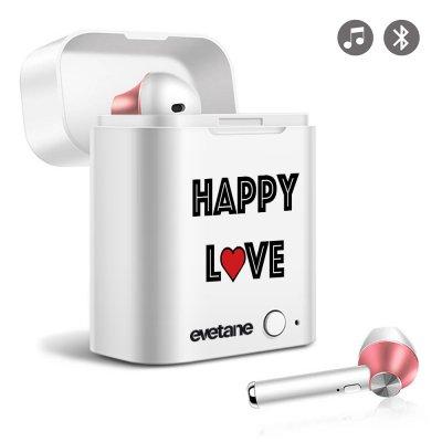 Ecouteurs Sans Fil Bluetooth Rose Gold Happy Love Evetane