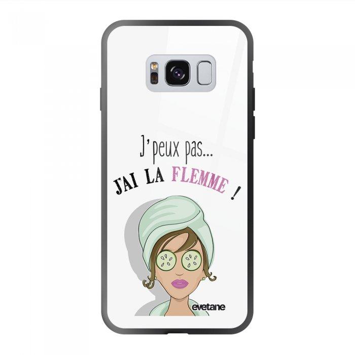 Coque Galaxy S8 soft touch noir effet glossy J'ai La Flemme Design Evetane