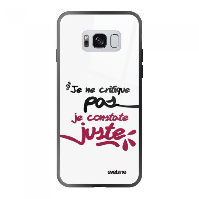 Coque Galaxy S8 soft touch noir effet glossy Je Constate Juste Design Evetane