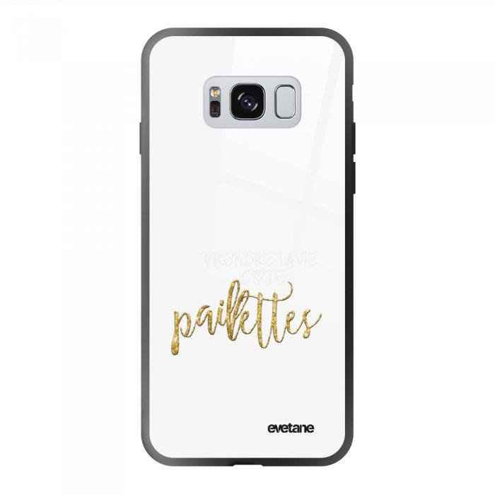 Coque Galaxy S8 soft touch noir effet glossy Côté Paillettes Design Evetane