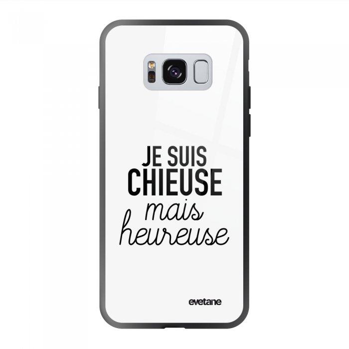 Coque Galaxy S8 soft touch noir effet glossy Chieuse Mais Heureuse Design Evetane