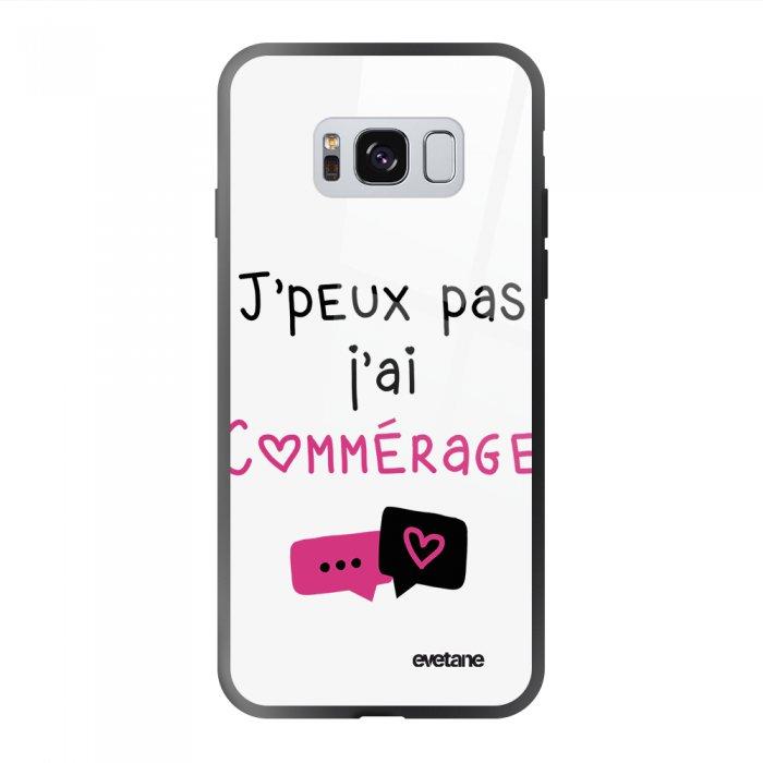 Coque Galaxy S8 soft touch noir effet glossy Commérages Design Evetane