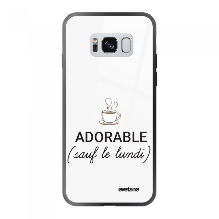 Coque Galaxy S8 soft touch noir effet glossy Adorable Sauf le Lundi Design Evetane