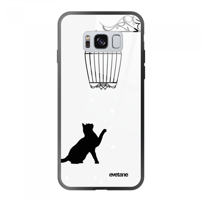 Coque Galaxy S8 soft touch noir effet glossy Chat Design Evetane