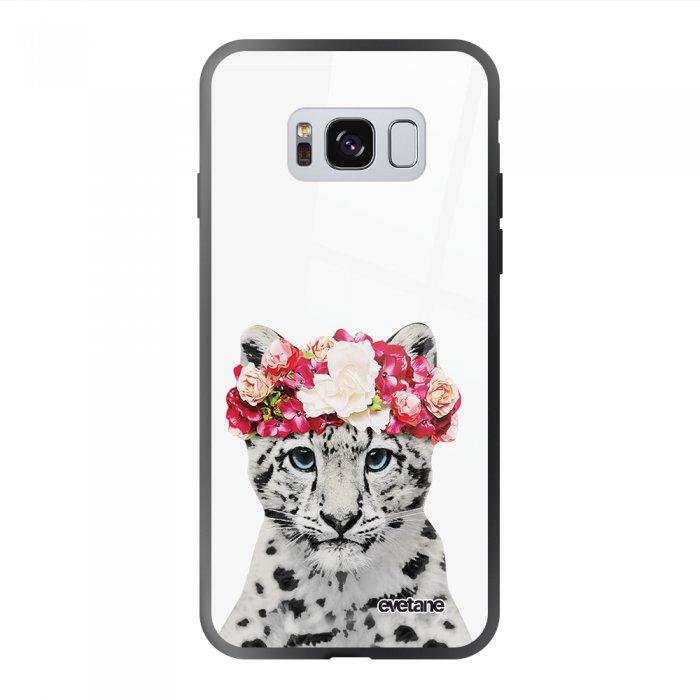 Coque Galaxy S8 soft touch noir effet glossy Leopard Couronne Design Evetane