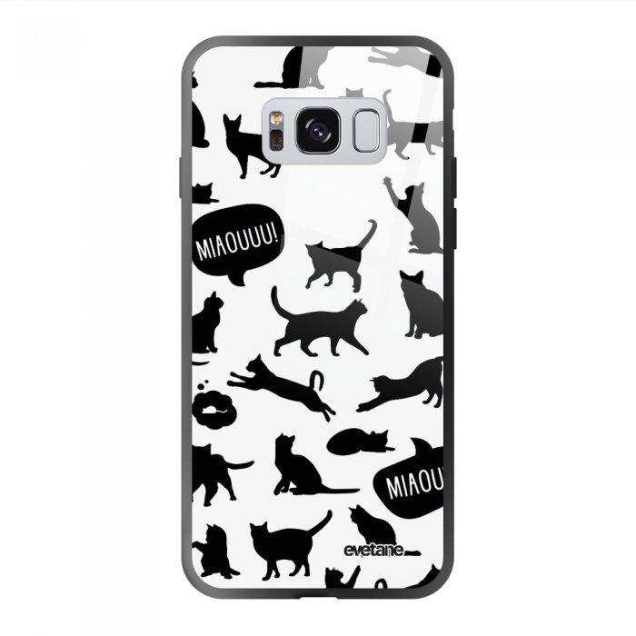 Coque Galaxy S8 soft touch noir effet glossy Miaou Design Evetane