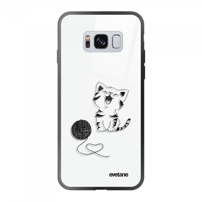 Coque Galaxy S8 soft touch noir effet glossy Chat et Laine Design Evetane