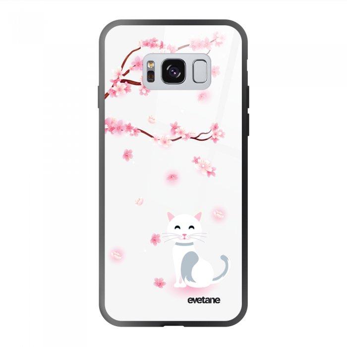 Coque Galaxy S8 soft touch noir effet glossy Chat et Fleurs Design Evetane