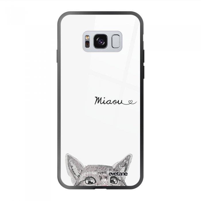 Coque Galaxy S8 soft touch noir effet glossy Chat Miaou Design Evetane