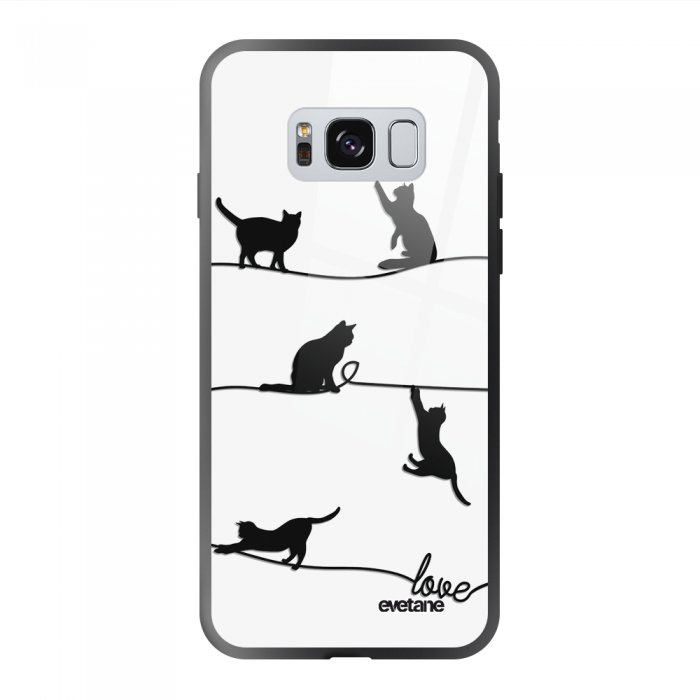 Coque Galaxy S8 soft touch noir effet glossy Chat Lignes Design Evetane