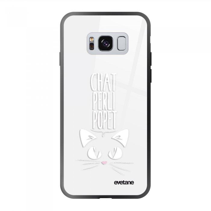 Coque Galaxy S8 soft touch noir effet glossy Chat Perli Popet Design Evetane