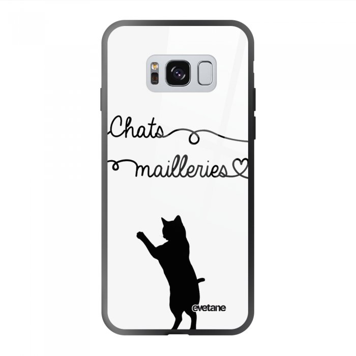 Coque Galaxy S8 soft touch noir effet glossy Chats Mailleries Design Evetane