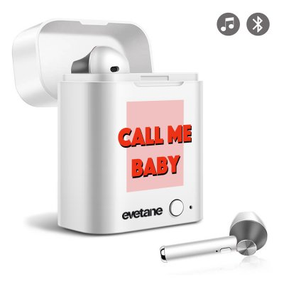 Ecouteurs Sans Fil Bluetooth Noir Call me baby Evetane