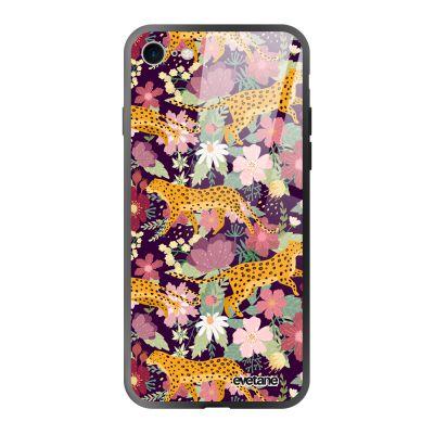 Coque iPhone 7/8/SE 2020 soft touch noir effet glossy Léopard et Fleurs Design Evetane