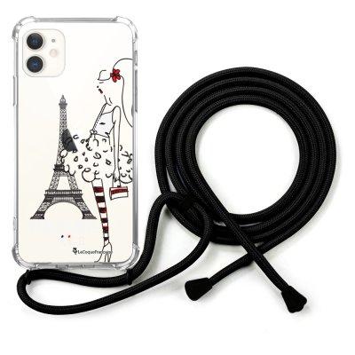 Coque cordon iPhone 11 cordon noir Dessin Parisienne La Coque Francaise