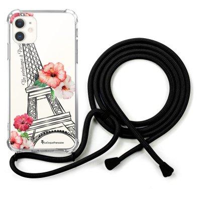 Coque cordon iPhone 11 cordon noir Dessin Un Printemps à Paris La Coque Francaise