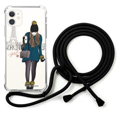 Coque cordon iPhone 11 cordon noir Dessin Working girl La Coque Francaise