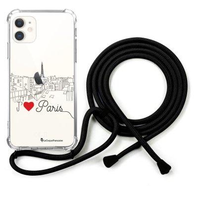 Coque cordon iPhone 11 cordon noir Dessin J'aime Paris La Coque Francaise