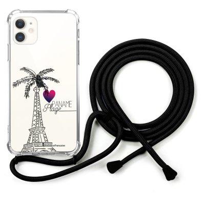 Coque cordon iPhone 11 cordon noir Dessin Paname plage La Coque Francaise