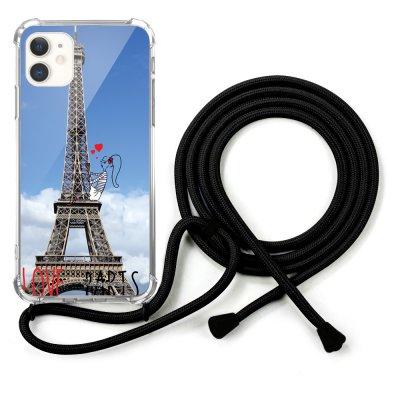 Coque cordon iPhone 11 cordon noir Dessin Love Paris La Coque Francaise