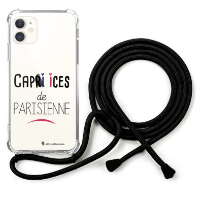 Coque cordon iPhone 11 cordon noir Dessin Caprices de Parisienne La Coque Francaise