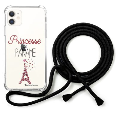 Coque cordon iPhone 11 cordon noir Dessin Princesse de Paname La Coque Francaise