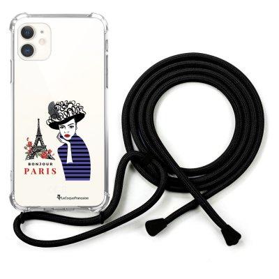 Coque cordon iPhone 11 cordon noir Dessin Madame à Paris La Coque Francaise