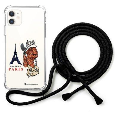 Coque cordon iPhone 11 cordon noir Dessin School Girl à Paris La Coque Francaise