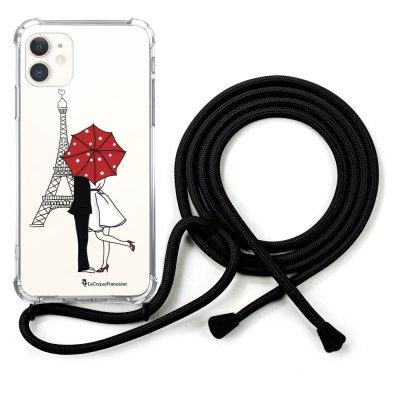 Coque cordon iPhone 11 cordon noir Dessin Amour à Paris La Coque Francaise